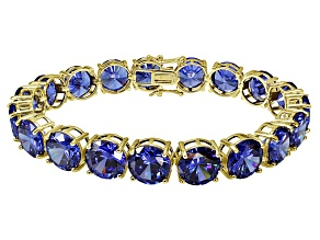 Bella Luce ® 84.47ctw Tanzanite Simulant 18k Yellow Gold Over Sterling Silver Bracelet