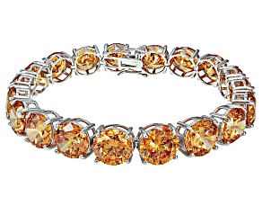 Bella Luce ® 84.47ctw Champagne Diamond Simulant Sterling Silver Bracelet 7.25