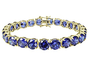 Bella Luce ® 48.60ctw Tanzanite Simulant 18k Yellow Gold Over Sterling Silver Bracelet