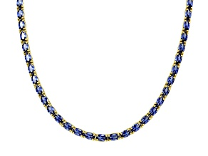 28.35ctw Tanzanite Simulant 18k Yellow Gold Over Sterling Silver Tennis Necklace