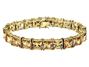 Bella Luce ® 92.00ctw Champagne Diamond Simulant 18k Yellow Gold Over Sterling Silver Bracelet