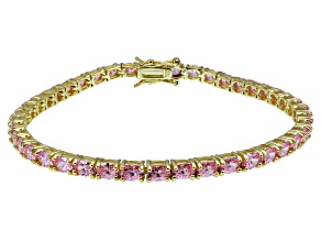 Bella Luce ® Pink Diamond Simulant 18k Yellow Gold Over Sterling Silver Bracelet