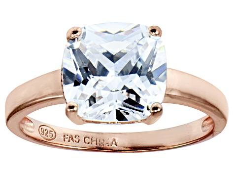 Bella Luce 5.65 Square Diamond Simulant 18k Rose Gold Over Sterling Silver Ring