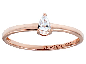 Bella Luce .45ct Pear Diamond Simulant 18k Rose Gold Over Sterling Silver Ring
