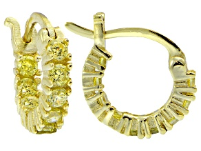 Bella Luce ® 1ctw Yellow Diamond Simulant 12mm Round 18k Over Silver Hoop Earrings