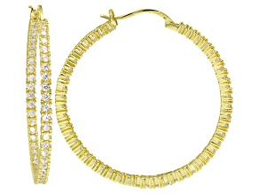 Bella Luce ® 5.64ctw Diamond Simulant 40mm Round 18k Over Silver Hoop Earrings