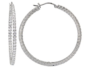 Bella Luce ® 6.60ctw Diamond Simulant 45mm Round Sterling Silver Hoop Earrings