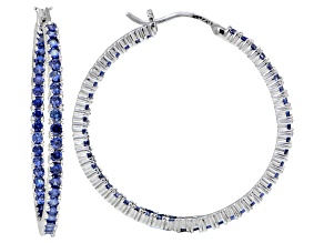 Bella Luce ® 5.40ctw Tanzanite Simulant 38mm Round Sterling Silver Hoop Earrings