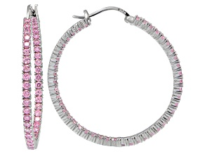 Bella Luce ® 5.40ctw Pink Diamond Simulant 38mm Round Sterling Silver Hoop Earrings