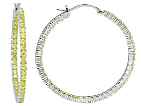 Bella Luce® 5ctw Yellow Diamond Simulant 38mm Round Sterling Silver Hoop Earrings