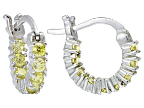 Bella Luce® Yellow Diamond Simulant 12mm Round Sterling Silver Hoop Earrings