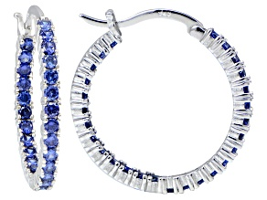 Bella Luce ® 3.24ctw Tanzanite Simulant 25mm Round Sterling Silver Hoop Earrings