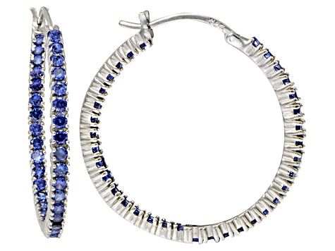 Bella Luce ® 4.20ctw Tanzanite Simulant 32mm Round Sterling Silver Hoop Earrings