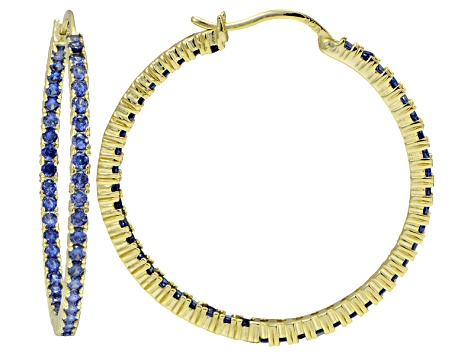 Bella Luce ® 5.40ctw Tanzanite Simulant 38mm Round 18k Over Silver Hoop Earrings