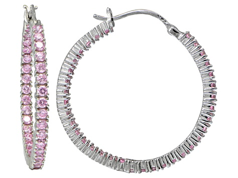 Bella Luce ® 4.20ctw Pink Diamond Simulant 32mm Round Sterling Silver Hoop Earrings