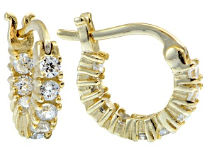 Bella Luce ® 1.08ctw Diamond Simulant 12mm Round 18k Over Silver Hoop Earrings
