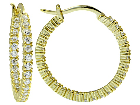 Bella Luce ® 3.24ctw Diamond Simulant 25mm Round 18k Over Silver Hoop Earrings
