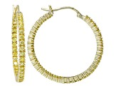 Bella Luce® 4ctw Yellow Diamond Simulant 32mm Round 18k Over Silver Hoop Earrings