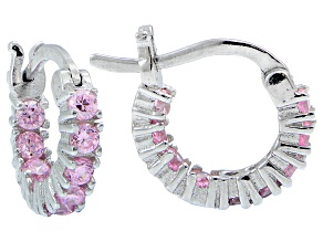 Bella Luce ® 1.08ctw Pink Diamond Simulant 12mm Round Sterling Silver Hoop Earrings