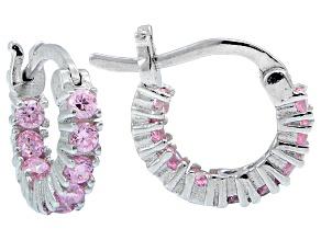 Bella Luce ® 1.08ctw Pink Diamond Simulant 12mm Round Sterling Silver Hoop Earrings