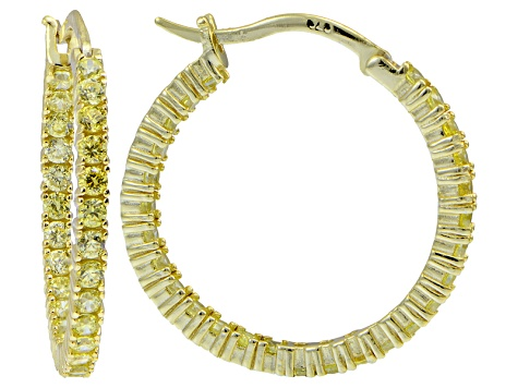 Bella Luce® Yellow Diamond Simulant 25mm Round 18k Over Silver Hoop Earrings