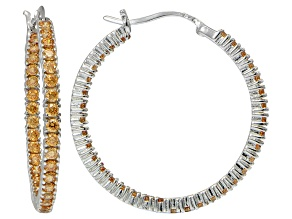 Bella Luce® Champagne Diamond Simulant 32mm Round Sterling Silver Hoop Earrings