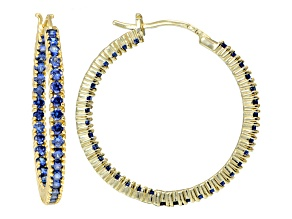Bella Luce ® 4.20ctw Tanzanite Simulant 32mm Round 18k Over Silver Hoop Earrings