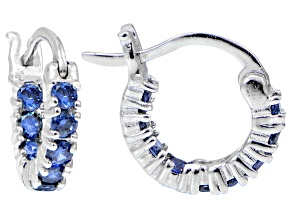 Bella Luce ® 1.08ctw Tanzanite Simulant 12mm Round Sterling Silver Hoop Earrings