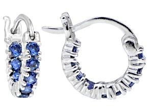 Bella Luce ® 1.08ctw Tanzanite Simulant 12mm Round Sterling Silver Hoop Earrings