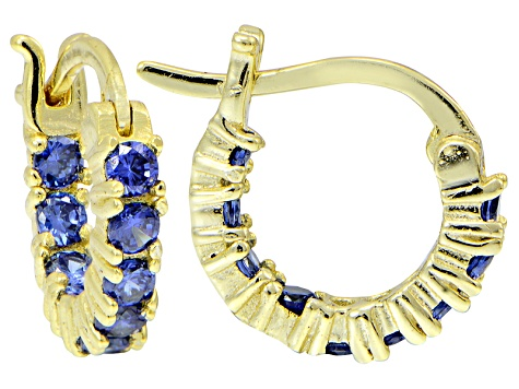 15d8e0a56 Bella Luce ® 1.08ctw Tanzanite Simulant 12mm Round 18k Over Silver Hoop  Earrings
