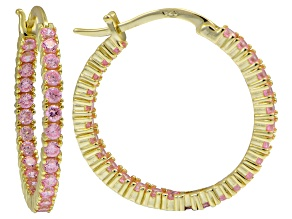 Bella Luce ® 3.24ctw Pink Diamond Simulant 25mm Round 18k Over Silver Hoop Earrings