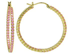 Bella Luce® 5ctw Pink Diamond Simulant 38mm Round 18k Over Silver Hoop Earrings