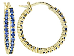 Bella Luce ® 3.24ctw Tanzanite Simulant 25mm Round 18k Over Silver Hoop Earrings