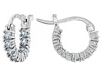 eb2228911 Bella Luce®1.08ctw Blue Diamond Simulant Rhodium Over Silver Hoop Earrings