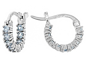 Bella Luce®1.08ctw Blue Diamond Simulant Rhodium Over Silver Hoop Earrings