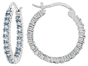 Bella Luce®2.64ctw Blue Diamond Simulant Rhodium Over Silver Hoop Earrings