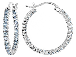 Bella Luce®3.24ctw Blue Diamond Simulant Rhodium Over Silver Hoop Earrings