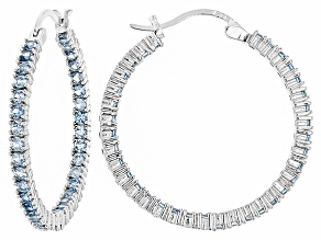 Bella Luce®4.20ctw Blue Diamond Simulant Rhodium Over Silver Hoop Earrings