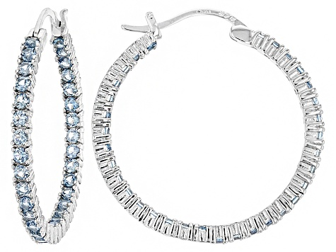 Bella Luce®3.96ctw Blue Diamond Simulant Rhodium Over Silver Hoop Earrings