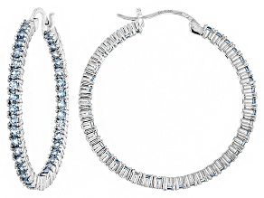 Bella Luce®4.80ctw Blue Diamond Simulant Rhodium Over Silver Hoop Earrings