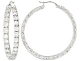 Bella Luce® 9.36ctw Rhodium Over Sterling Silver inside/Out Hoop Earrings.