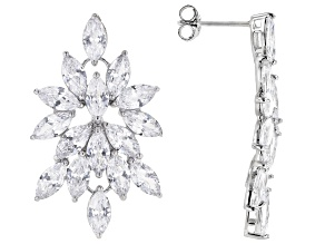 White Cubic Zirconia Rhodium Over Sterling Silver Earrings 11.20ctw