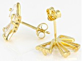 White Cubic Zirconia 18k Yellow Gold Over Sterling Silver Bow Earrings 3.51ctw