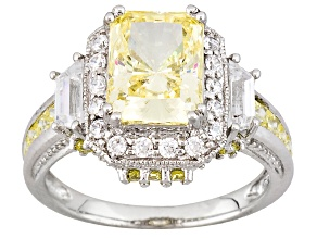 Yellow And White Cubic Zirconia Rhodium Over Sterling Silver Ring 6.60ctw