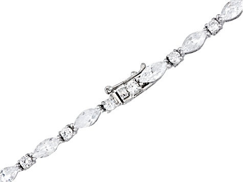 Cubic Zirconia Rhodium Plated Sterling Silver Necklace 34.70ctw