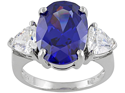 Bella Luce® Esotica™ 12.47ctw Tanzanite Color Simulant Rhodium Over Sterling Silver Ring
