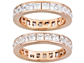 White Cubic Zirconia 18k Rose Gold Over Sterling Silver Eternity Band Set Of 2 5.06ctw