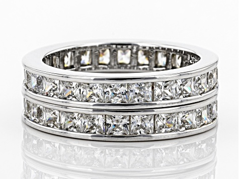 Bella Luce 5ctw Princess Cut Cz .925 Sterling Silver Eternity Band Ring Set