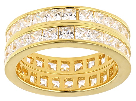 White Cubic Zirconia 18k Gold Over Sterling Silver Eternity Band Ring Set 5.06ctw