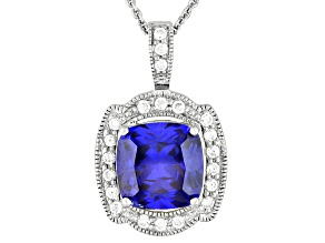Bella Luce® Esotica™ 9.63ctw Tanzanite Color Rhodium Over Sterling Silver Pendant With Chain